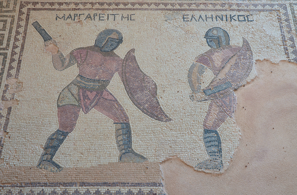 Mosaic depicting two gladiators in combat, their names in Greek listed above: Margarites (left) and Hellenikos (right), late-3rd century AD, House of the Gladiators, Kourion, Cyprus