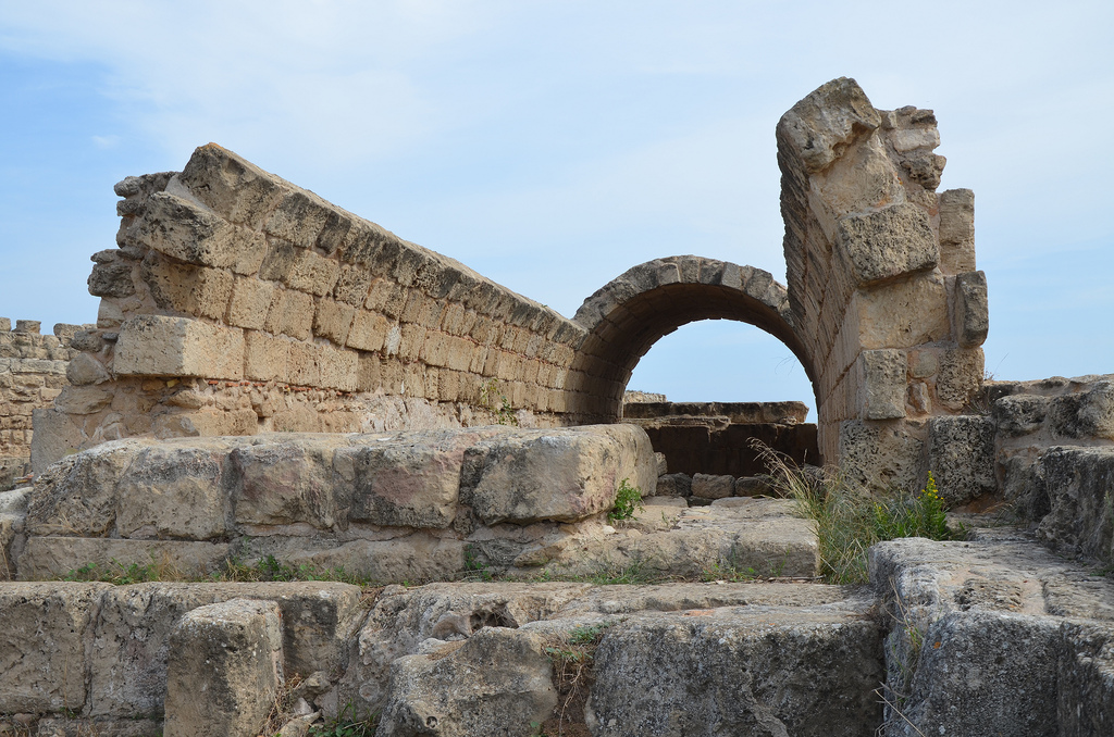 The cistern and remains of the aqueduct that used to supply the baths and the pools with water, Salamis, Northern Cyprus