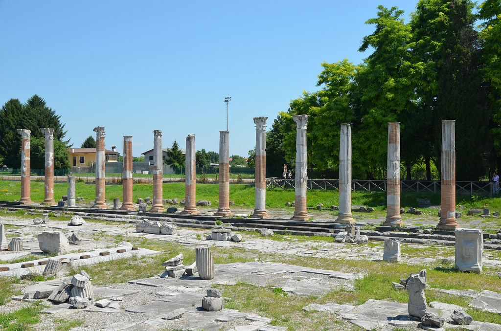The imperial Forum of Aquileia, the colonnade of the eastern portico of the Forum was restored and partially reconstructed in 1936-1937, Aquileia, Italy