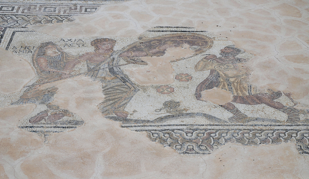 Mosaic floor depicting the unmasking of Achilles by Odysseus on the island of Skyros, 4th century AD, Kourion, Cyprus