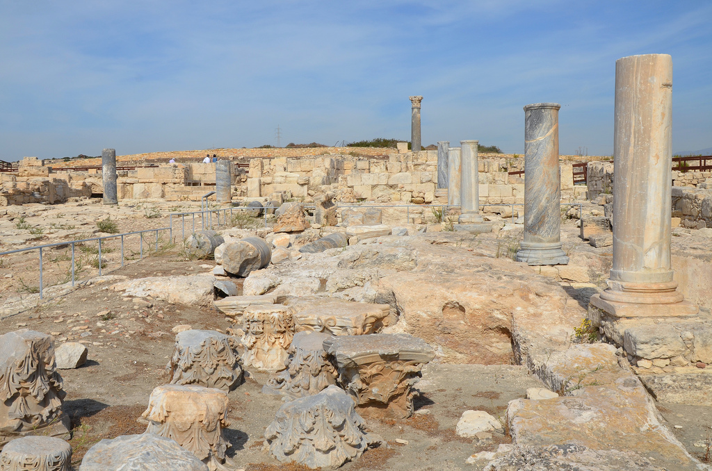 The remains of the portico of the Roman Forum with unfluted columns and Corinthian capitals dating to the Severan era (193-235 AD), Kourion, Cyprus