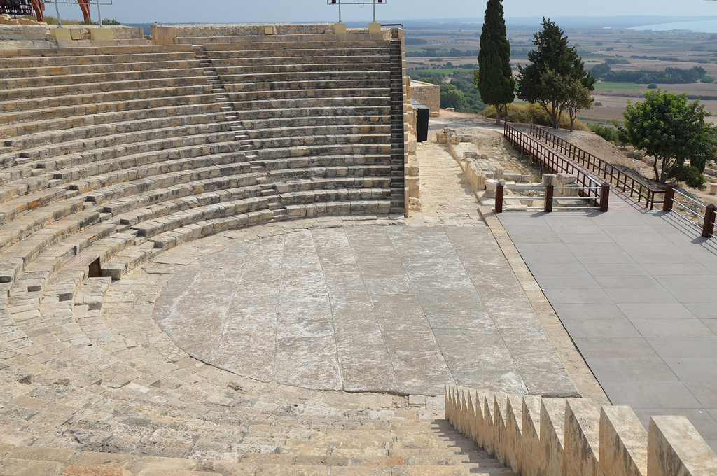 The Roman theatre built over an earlier Hellenistic theatre, it was remodelled in the 1st and 2nd centuries and in the 3rd century it was used as an arena, Kourion, Cyprus