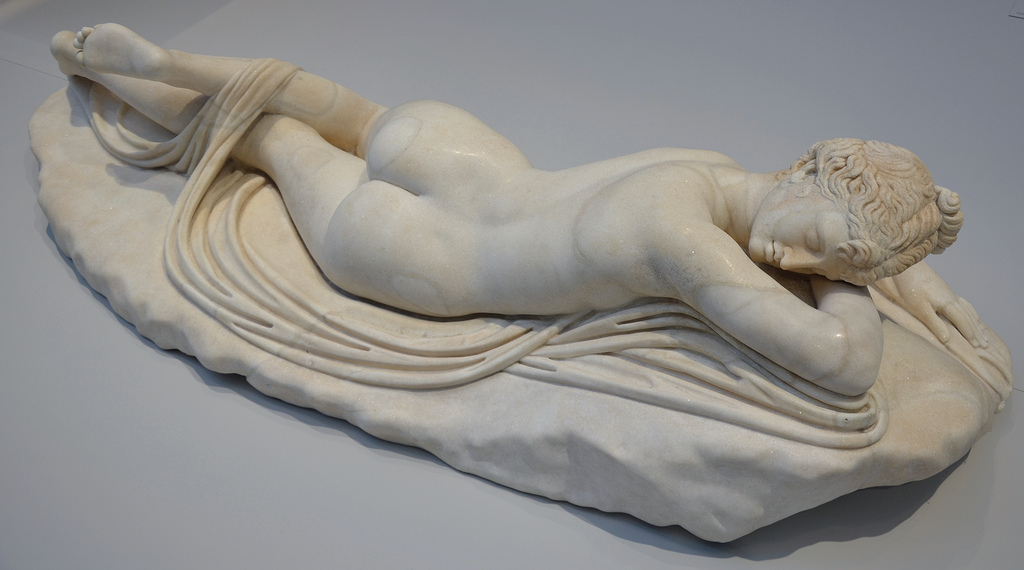 Statue of Hermaphroditus, Louvre Lens, son of Hermes and Aphrodite, around 130-150 AD, from Egypt, France