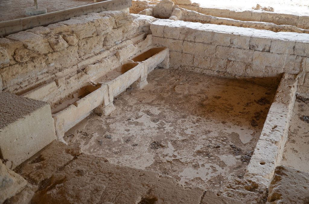 The Baths dating from the last third of the 4th century BC, used by athletes for washing and bathing during the games, a large central pool is flanked by two tub rooms with wash basins.