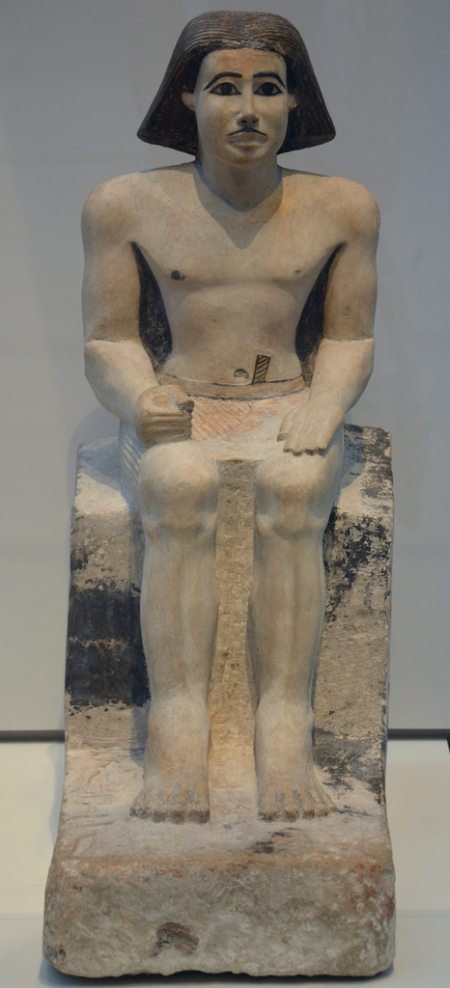 """Painted limestone statue of the Majordomo Keki, """"head of the household"""", civil servant of the Pharaoh From Giza, Egypt Around 2500-2350 BC (6th Dynasty)."""