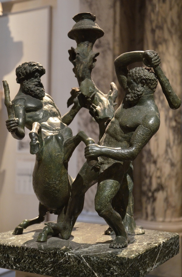 Bronze candelabra (table lamp) depicting Heracles fighting the Centaur Nessos, 2nd century BC.