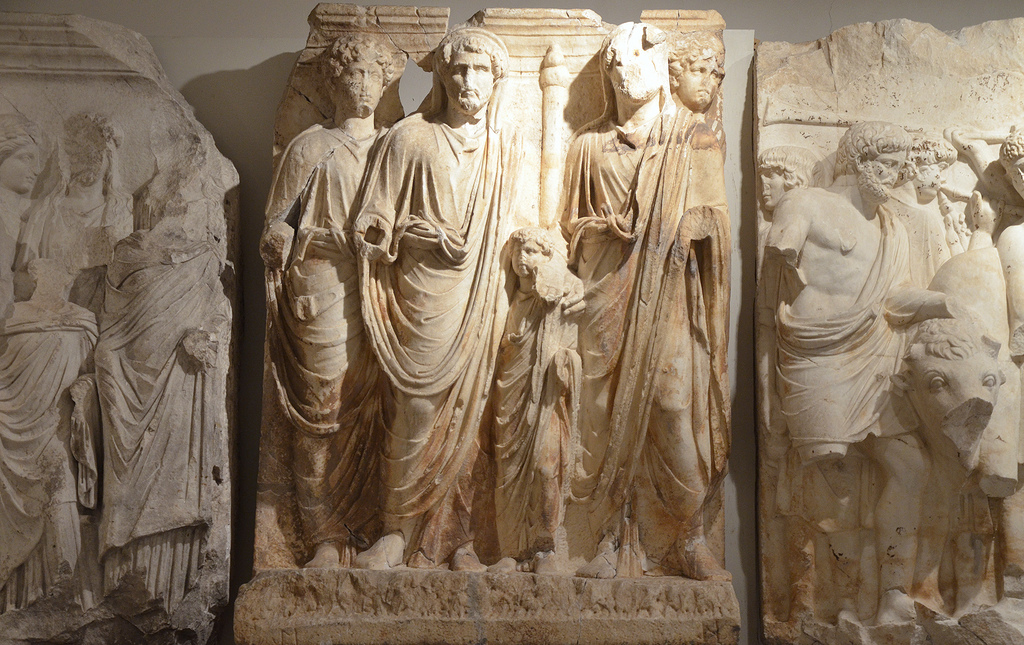 Relief frieze of the Parthian monument depicting the political act of adoption of Antoninus Pius and his successors, Marcus Aurelius and Lucius Verus by Hadrian which took place during the last year of his reign in 138 AD.