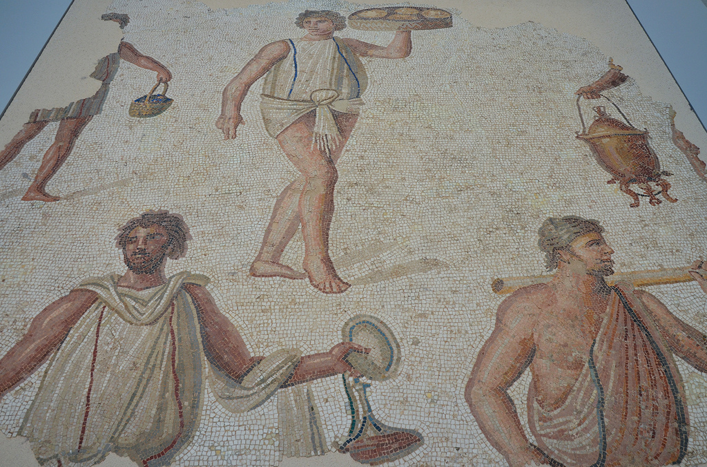 Fragment of a mosaic floor depicting a preparation of a banquet, found in Carthage, around 180-190 AD, Louvre Lens