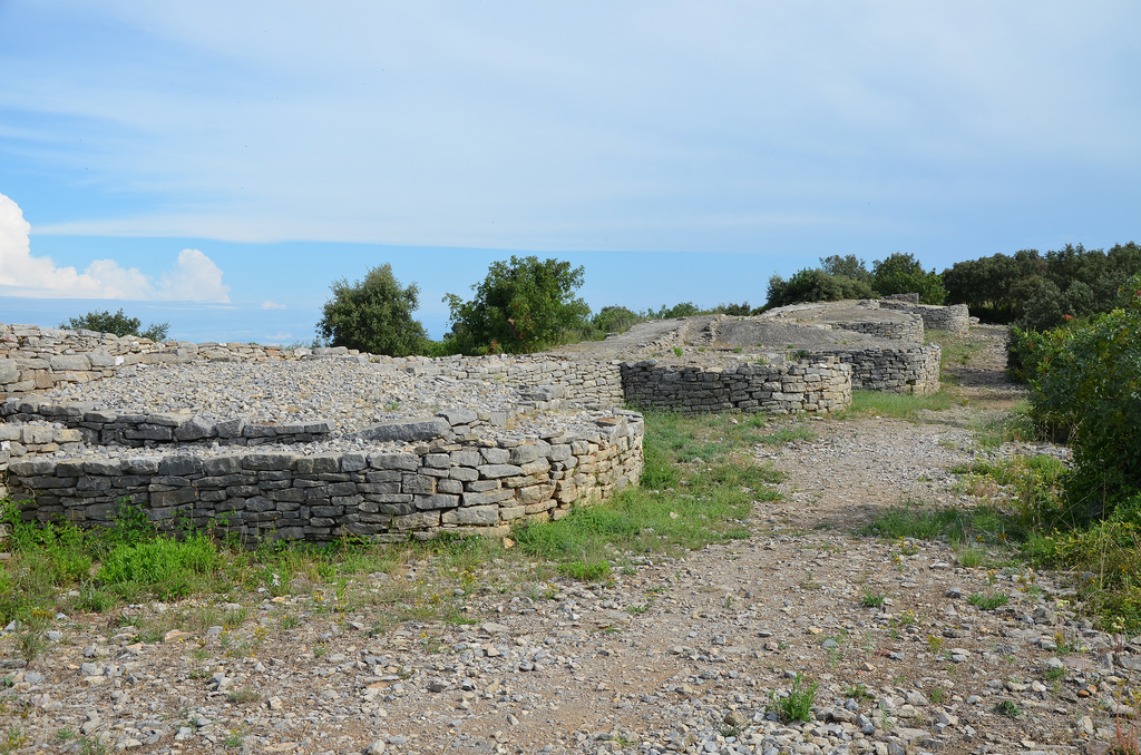 The ramparts of Ambrussum built in the late 4th century BC and modified in the mid-3rd century BC, they are the oldest visible remains on the hill, Oppidum of Ambrussum.