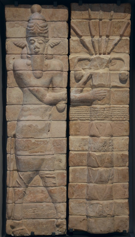 Fragments of decoration from the Temple of Inshushinak, tutelary god of Susa, depicting a bull man and palm tree, from Suse (Iran), around 1150 BC.