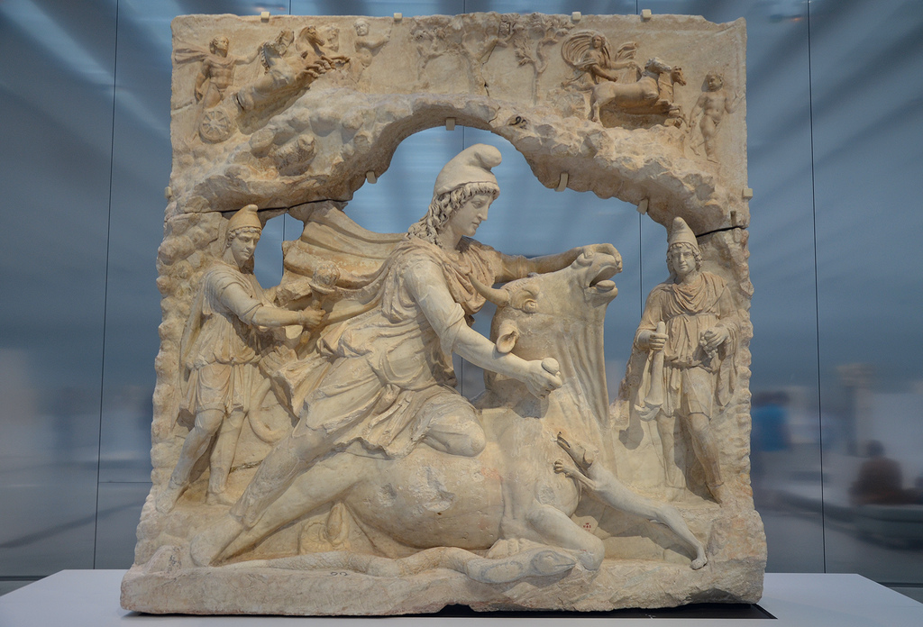 Tauroctony relief representing Mithras sacrificing the bull (CIMRM 415-416), around 100-200 AD, from the Capitoline Hill in Rome (Italy).