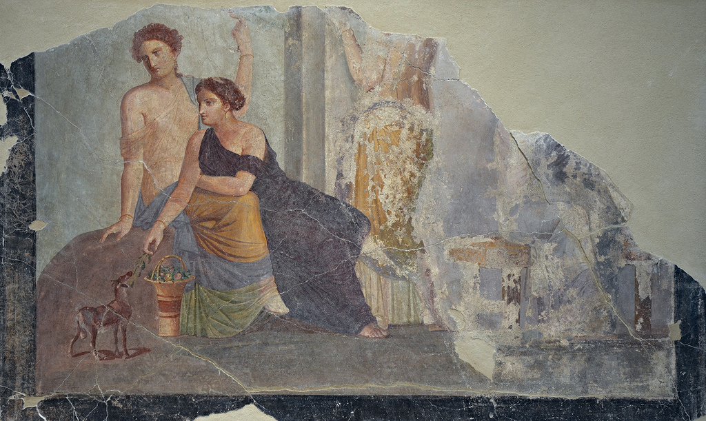 Fragment of a fresco depicting a woman beside a fawn (Bacchic cult scene?), from Pompeii, around 30-50 AD, Louvre Lens