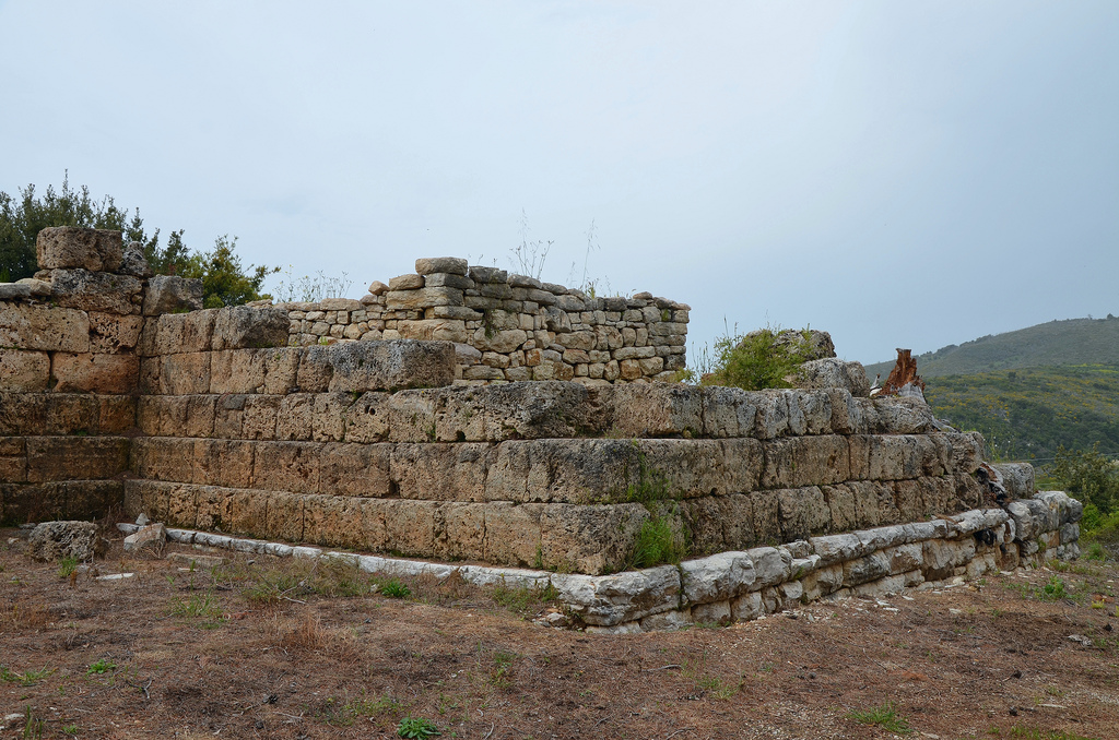 One of the square towers of the fortification wall surrounding the acropolis of Lepreon.