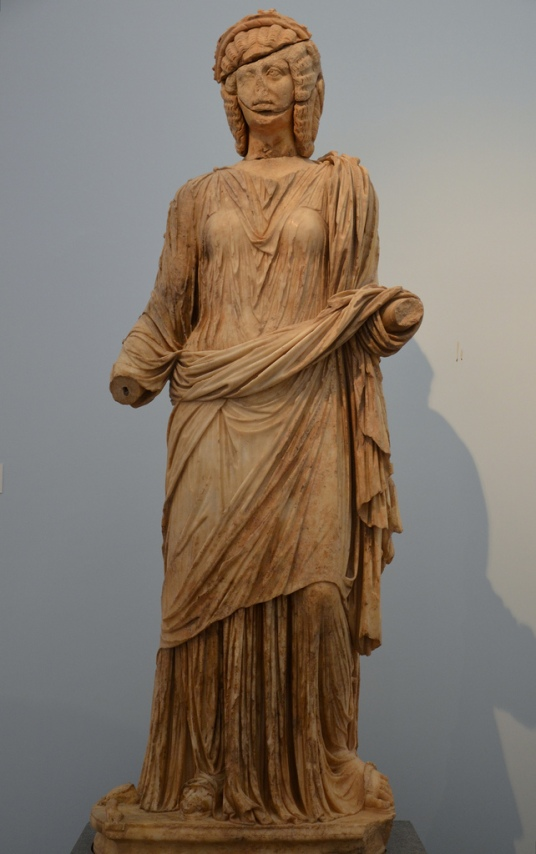 Statue of Claudia Antonia Tatiana, closely modelled on that of Julia Domna,from the Bouleuterion, 200 AD (Aphrodisias Museum).