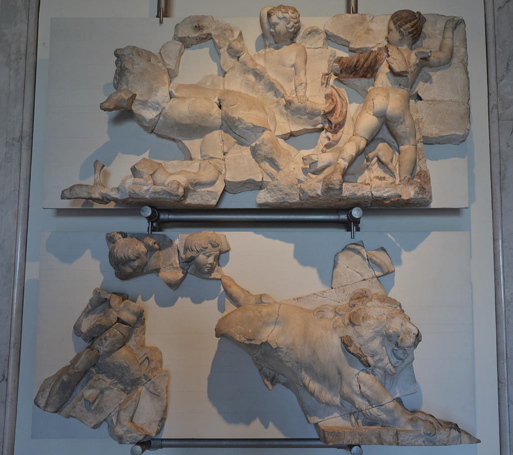 Two fragments of a frieze with hunting Cupids that decorated the stage building of the Great Theatre of Ephesus, 2nd half of 1st century AD.