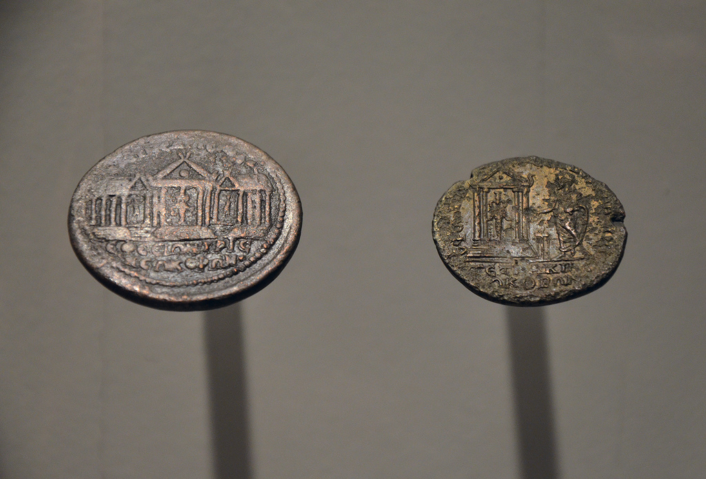 Medaillon with the Artemission and two temples (Ephesus twice Neokoros), and coin of Elagabalus with the Artemission on the reverse, 3rd century AD.