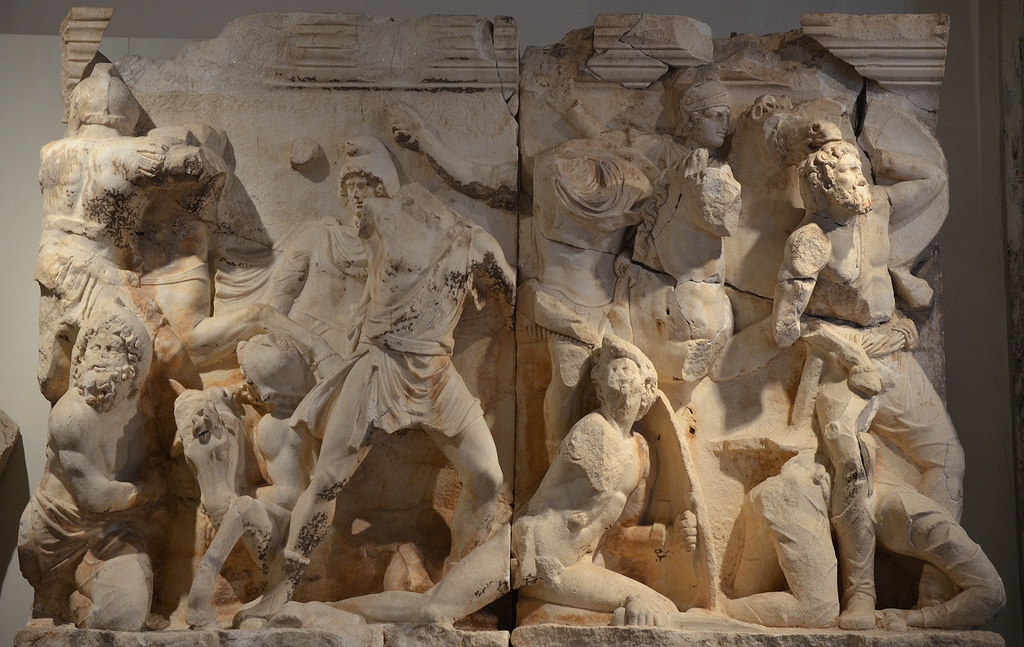 Relief frieze of the Parthian monument depicting the the Roman counter-attack against the Parthians which began in 162 and ended in 166 AD with the destruction of the Parthian capital Ctesiphon.