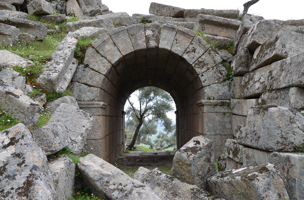 The arched entrance leading to the diazoma of the Hellenistic Theatre.