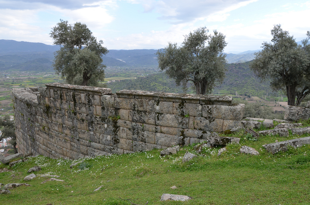The retaining wall of the cavea of the Hellenistic Theatre.