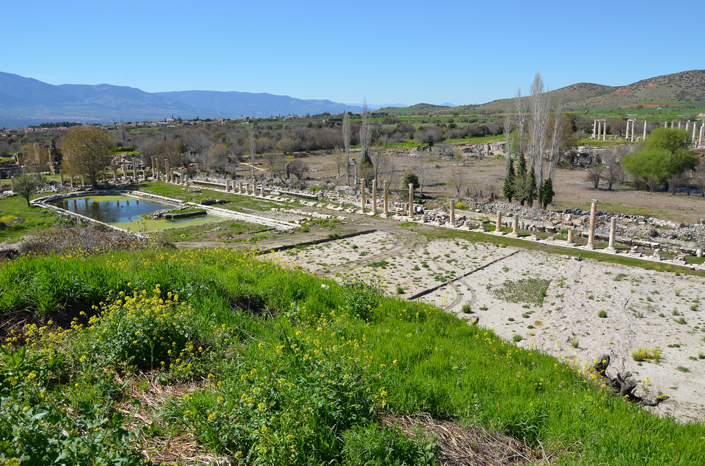 Overview of the South Agora and Portico of Tiberius with its 260 m long pool.