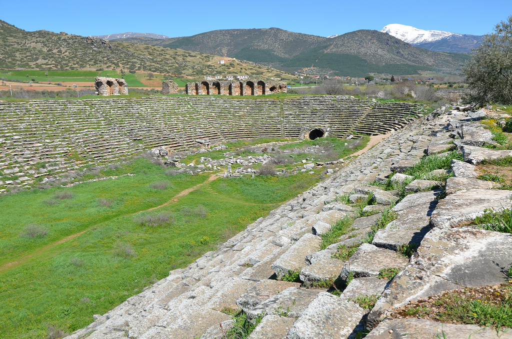 The stadium was specially designed for athletic contests, but after the theatre was damaged in the 7th century earthquake the eastern end of the arena began to be used for games, circuses, wild beast shows and gladiatorial combats.