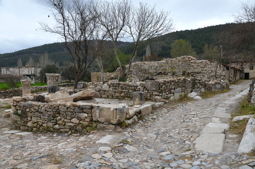 The ruins of Stratonicea among the buildings of the old village of Eskihisar.