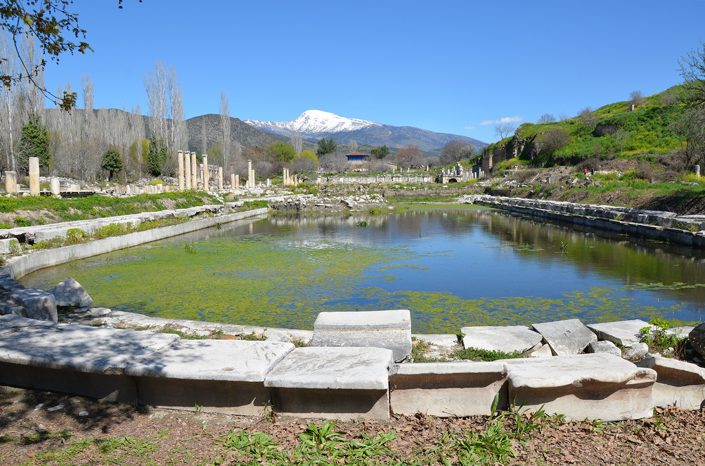 Overview of the South Agora and Portico of Tiberius with its 260 m long pool, Aphrodisias, Caria