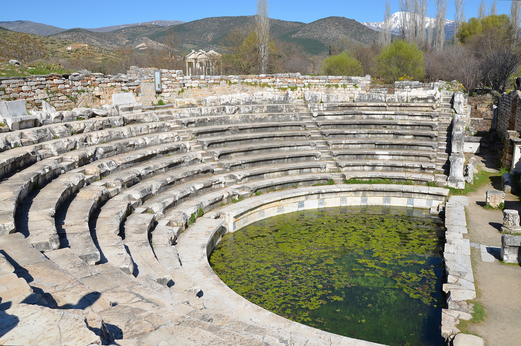 The lower seating area and the orchestra of the Bouleuterion. It had a capacity of 1,750 spectators.