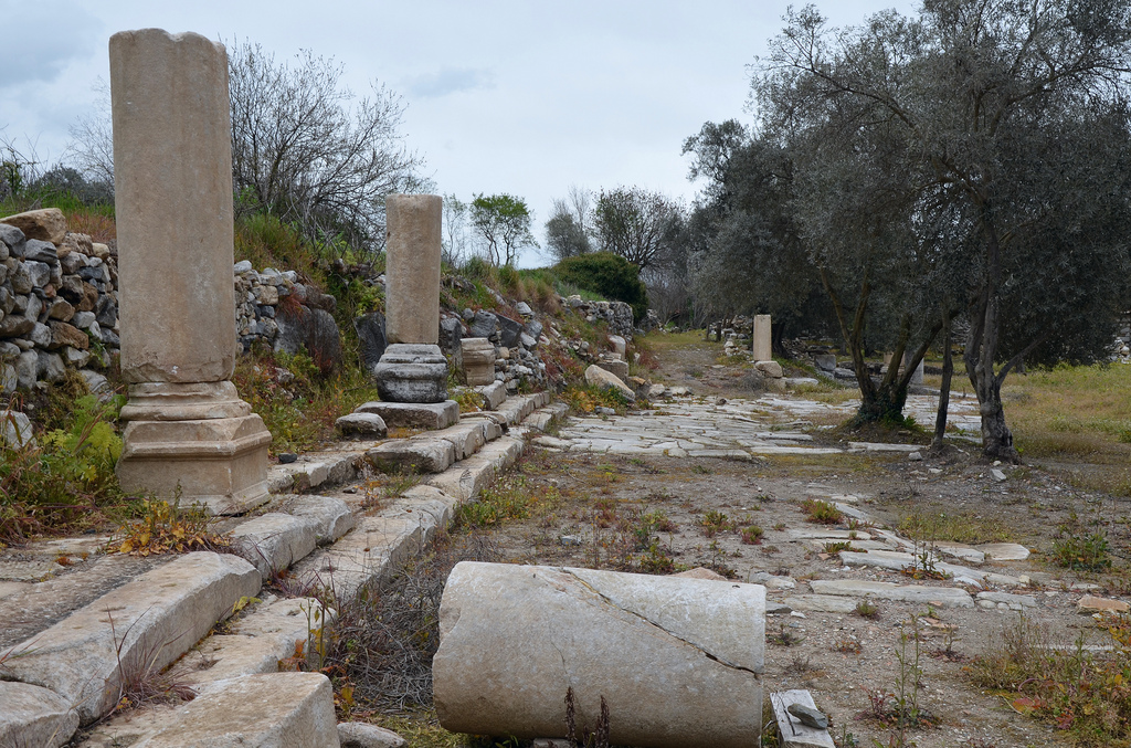 The ruins of the Stoa at the edge of the Agora, Stratonicea.