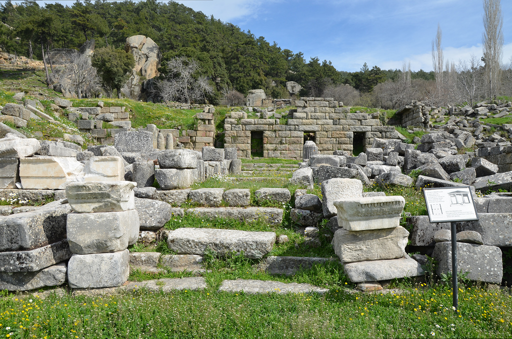 The ruins of the South Propylon, a gate building with high Ionic marble columns built by Idreus (351-344 BC).