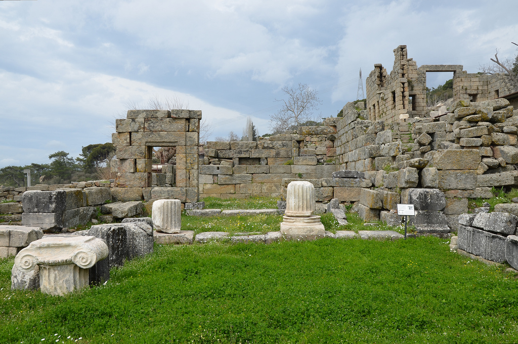 The ruins of Andron B erected by Mausollos (377-352 BC), it had two Ionic columns and a Doric frieze with triglyphs.