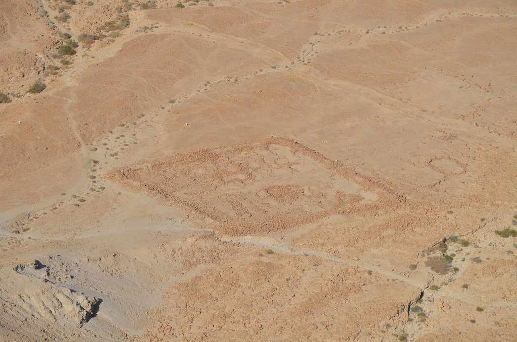 Remnants of Camp D, one of several legionary camps just outside the circumvallation wall around Masada seen from the hilltop.