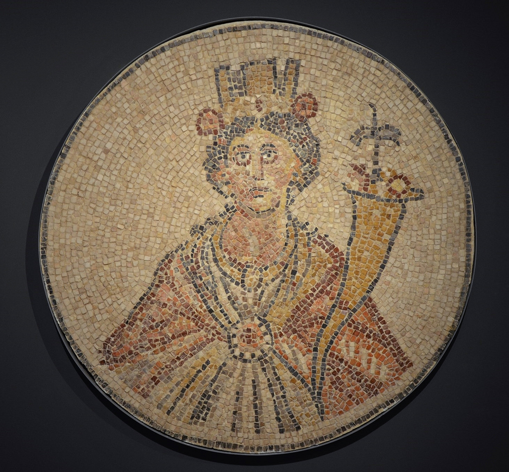 Mosaic with representation of Tyche, goddess of fortune, found in the semicircular exedra off Paladius Street at Scythopolis (Beit She'an). Israel Museum, Jerusalem.