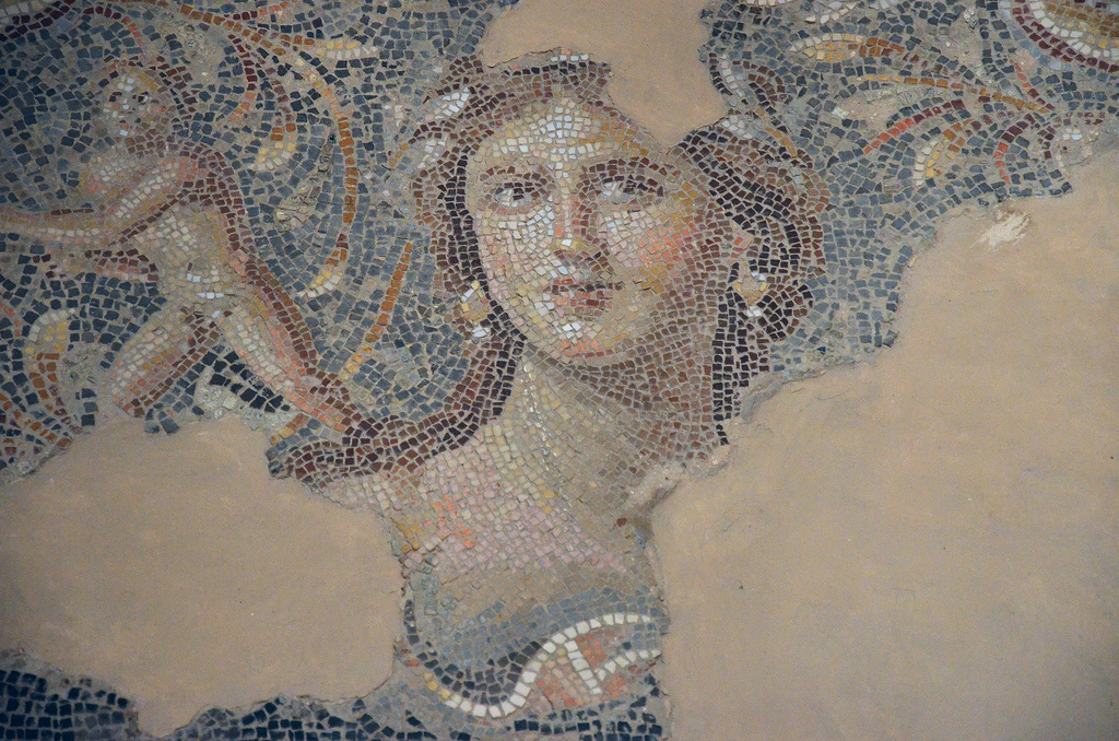 "The ""Mona Lisa of the Galilee"" (possibly Venus), part of the Dionysus mosaic floor."
