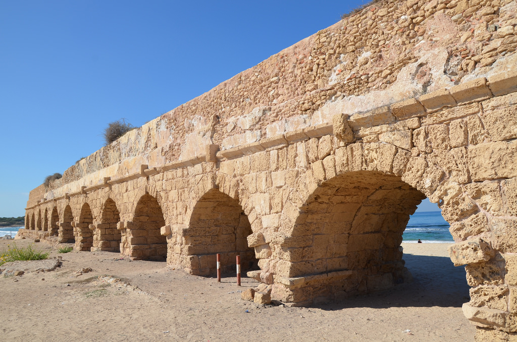 The high level aqueduct of Caesarea built by Herod the Great.
