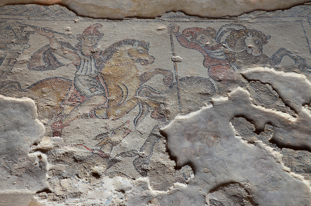 Mosaic pavement depicting hunting Amazons in the Nile Festival House, early 5th century AD.