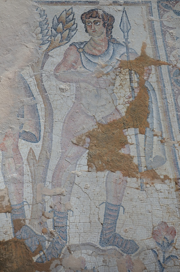 Mosaic pavement depicting a hunter holding a spear in the Nile Festival House, early 5th century AD.