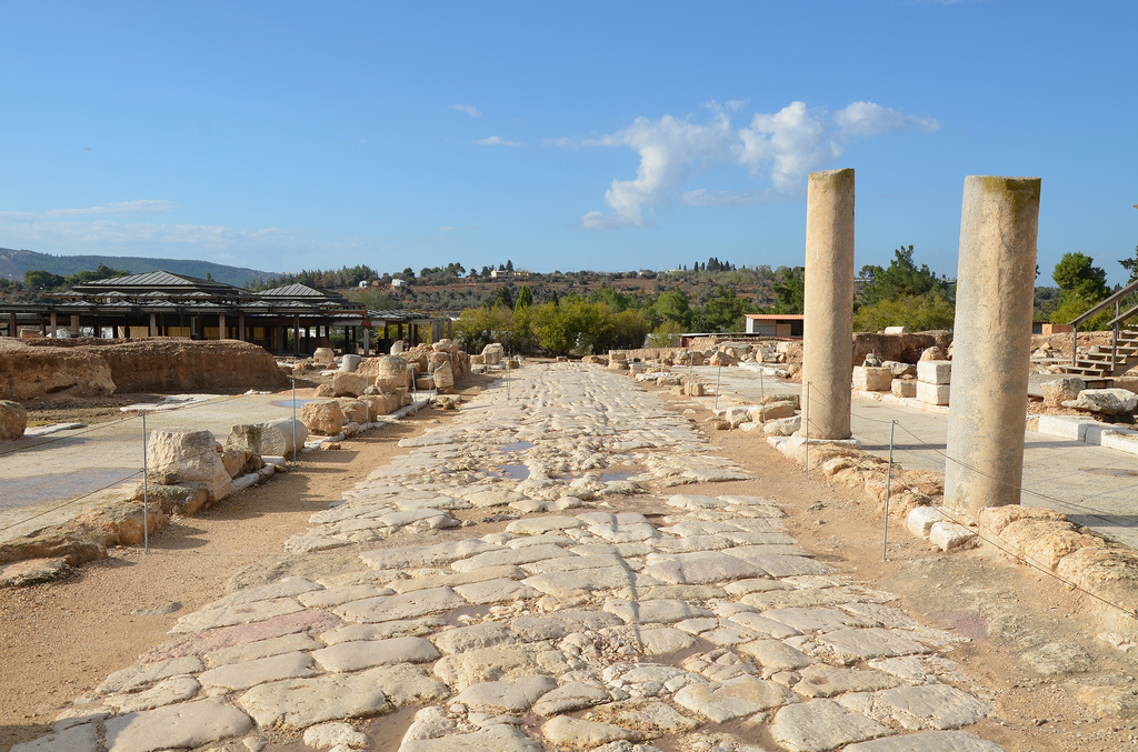 View of the Cardo marked with ruts made by carriage wheels, it was the main road of the city which runs north to south.