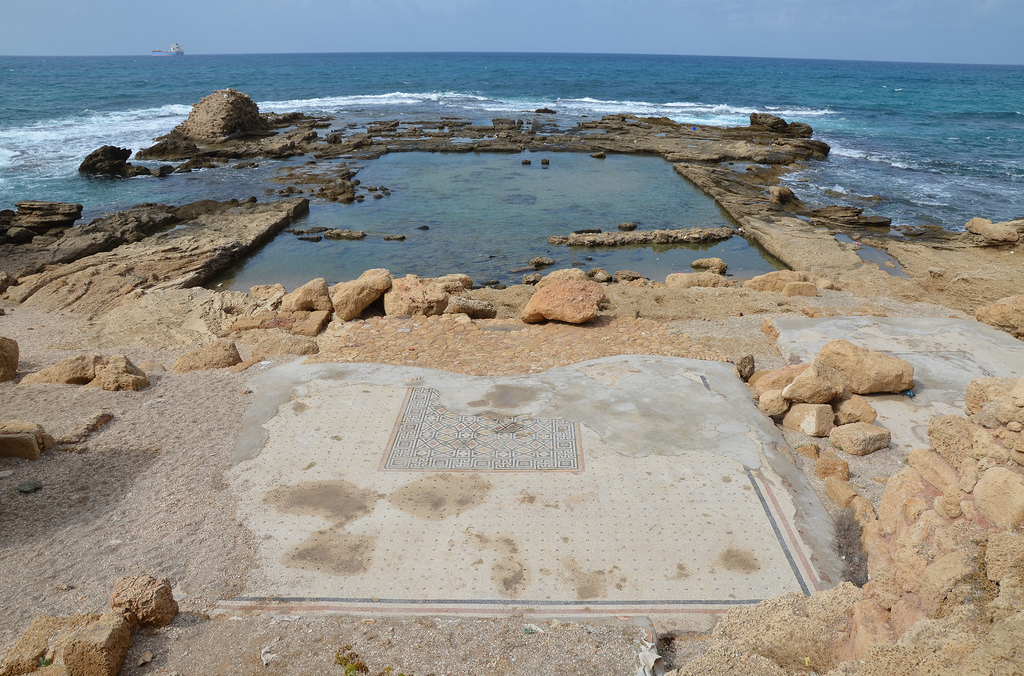The Lower Terrace of the Promontory Palace of Herod the Great stretching into the sea, the lower wing was built around a pool which was surrounded by four rooms decorated with mosaic floors.