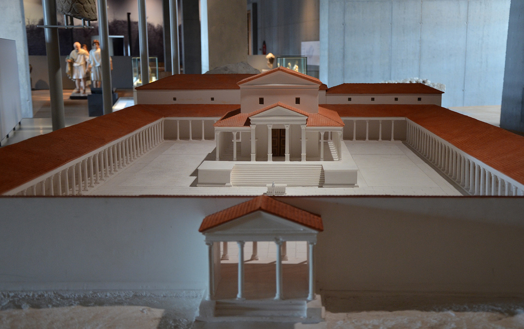 Model of the Temple complex. The temple was built ca. 150-160 AD on a artificial terrace in the north of the city. Gallo-Roman Museum of Tongeren, Belgium.