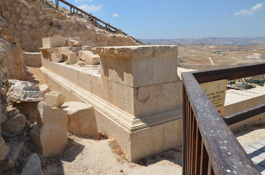 The podium of Herod's mausoleum preserved in situ.