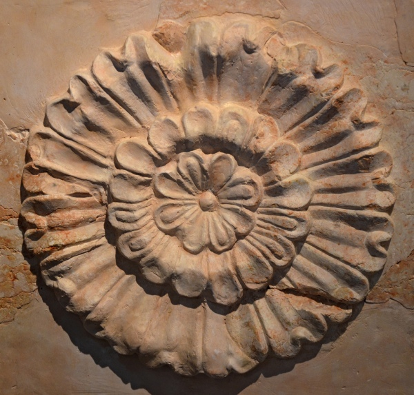 Rosette on the sarcophagus of Herod the Great which was found in 2007 after 35 years of search. Israel Museum, Jerusalem.