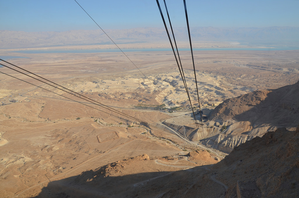 The Masada cableway, built in 1971 to carry people to the ruins at the top of the plateau.