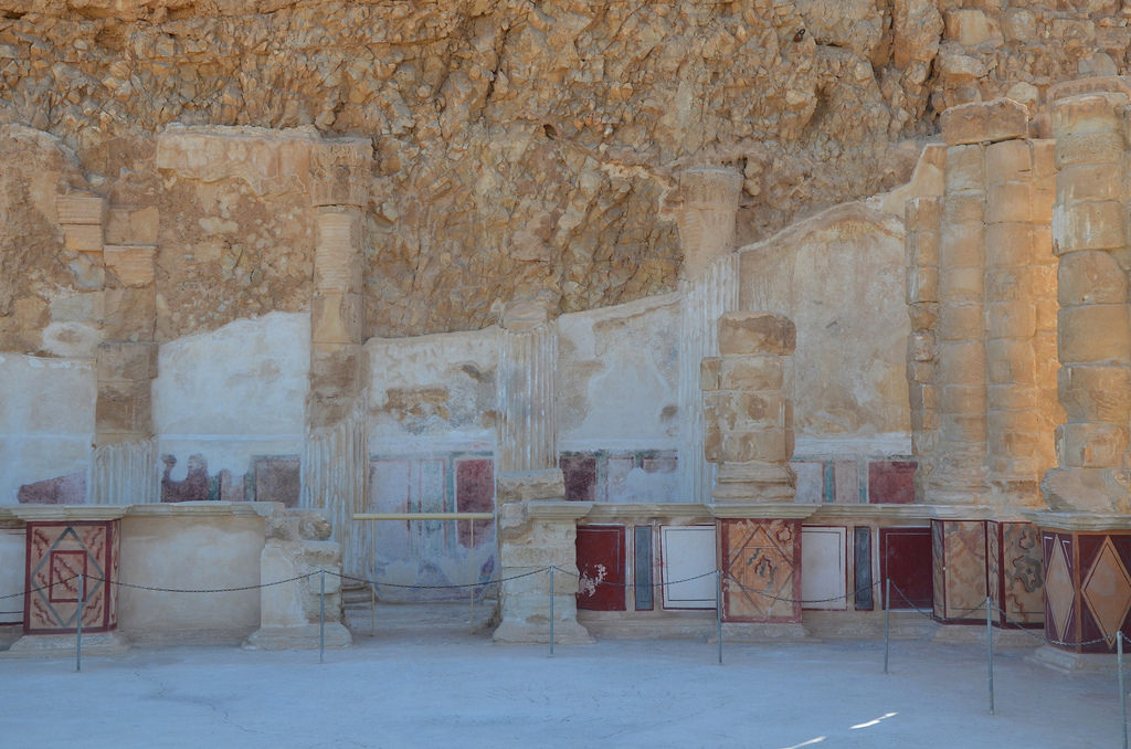 The magnificent frescoes on the southern part of the lower terrace of Herod's Northern Palace.