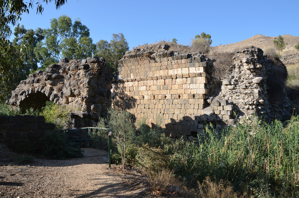 The ruins of the Roman bridge, a triple arched bridge crossing the Nahal Harod.