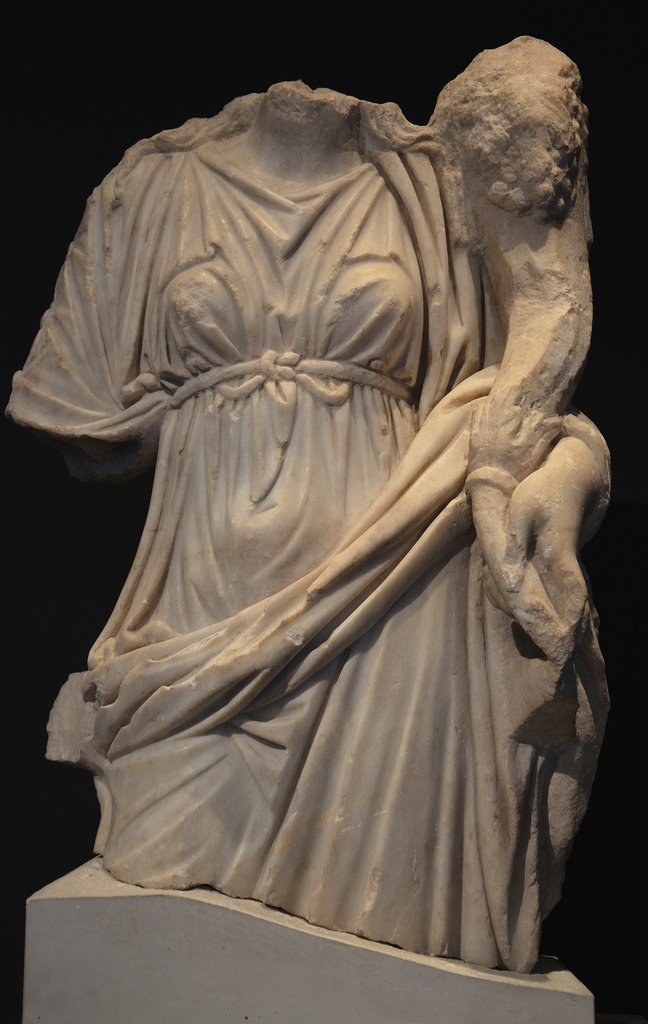 Statue of Tyche holding the cornucopia, unearthed in Beit Sh'ean/Scythopolis, 3rd century AD, Israel Museum.