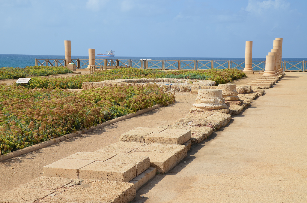 The Lower Terrace of the Promontory Palace of Herod the Great stretching into the sea. It was the private section of the palace.