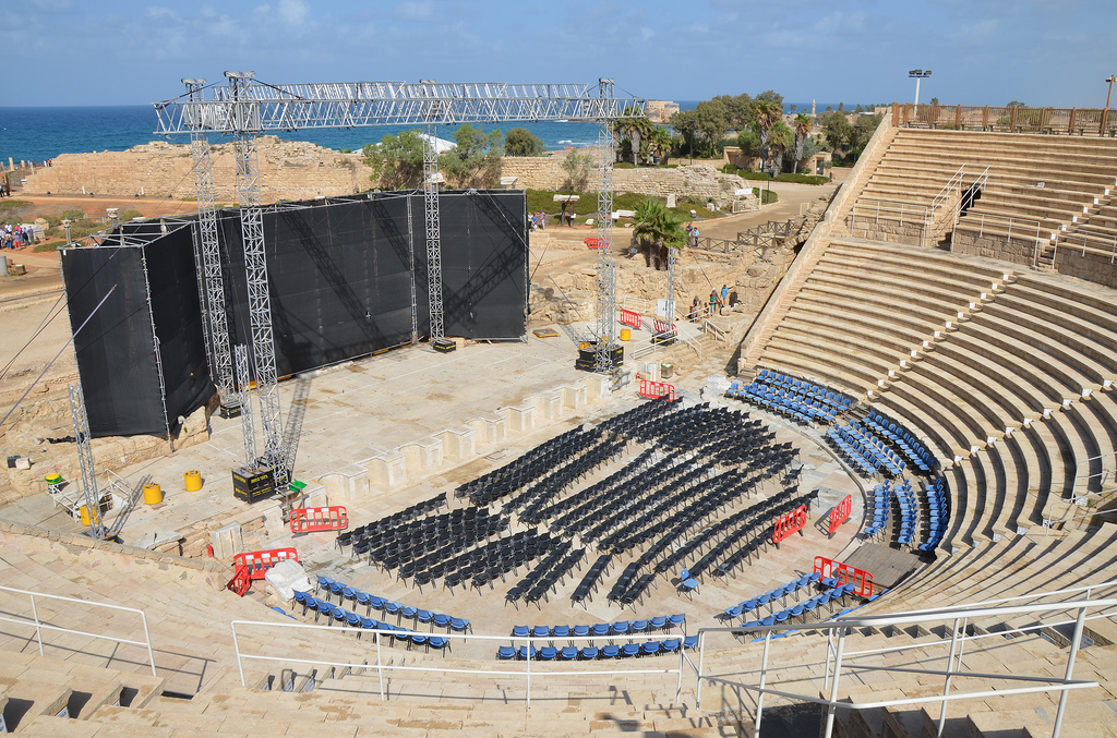 The Theatre constructed by Herod during the first stages of the city's development and renovated in the 2nd century AD, the seating capacity in its final stage was about 4,000. The theatre is still in use today for concerts and shows.