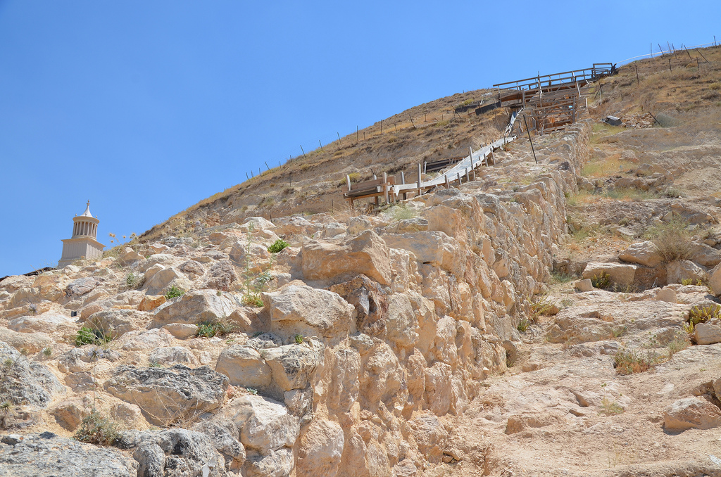 The Monumental Stairways which served the King and his court and any distinguished visitors invited to ascend to the upper complex and later used for Herod's sumptuous funeral procession.