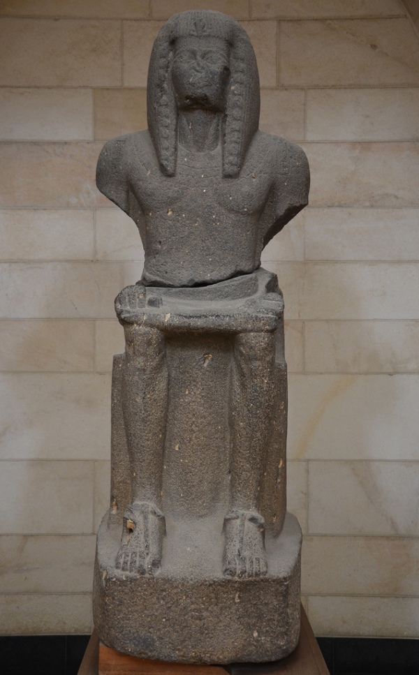 Basalt statue of Ramses III depicted seated on his throne, found at Beit She'an, 1184-1153 BC. Rockefeller Museum, Jerusalem.